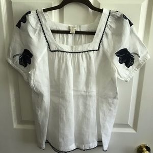 Jcrew linen embroidered top small like new